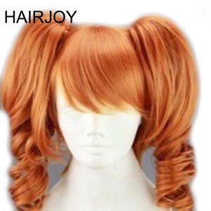 HAIRJOY 45cm Medium Length Orange Cosplay Wig Heat Resistant  Costume Party Synthetic Wigs 2 Clip On Ponytail 7 Colors