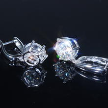 Solid 14 K 585 White Gold 4 Carat ct No Less Than GH Color Lab Grown Moissanite Dia mond Women Fashionable Drop Earrings Gift