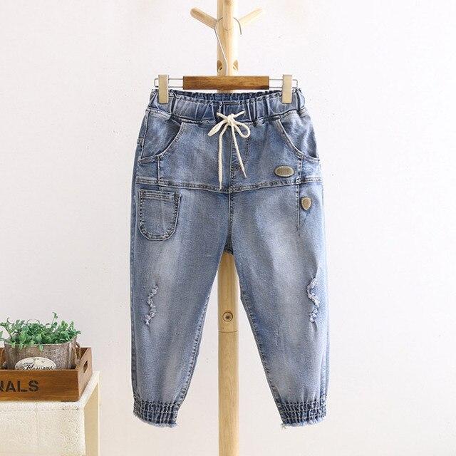 High Waist Jeans Women Casual Loose Capris Plus Size Denim Jeans Blue Trousers 3XL 4XL HS127