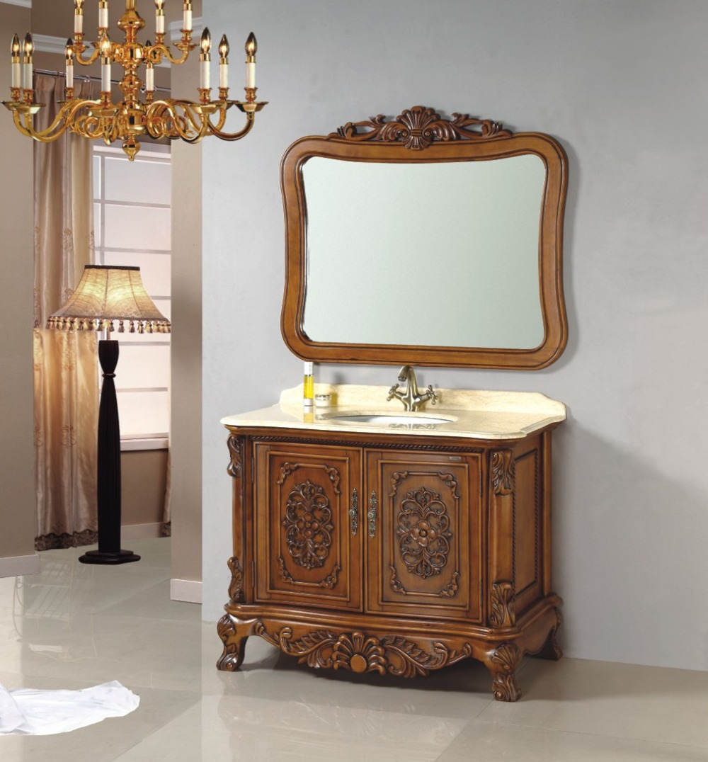 Wood bathroom cabinet - Antique Style Carved Wooden Bathroom Cabinet 0281 B 8053