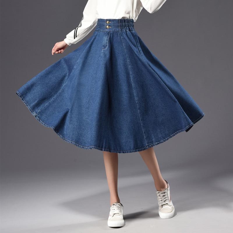 skirts new plus fertilizer plus size denim large put skirt 200 pounds fat MM women A word was thin loose G206