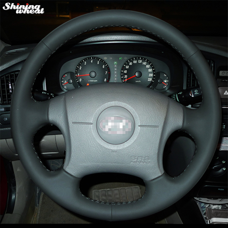 Shining Wheat Hand Stitched Black Leather Steering Wheel