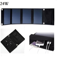 BUHESHUI Solar Charger 24W Solar Panel Dual USB Port Waterproof Foldable Solar Cells for Smartphones Tablets Camping Travel