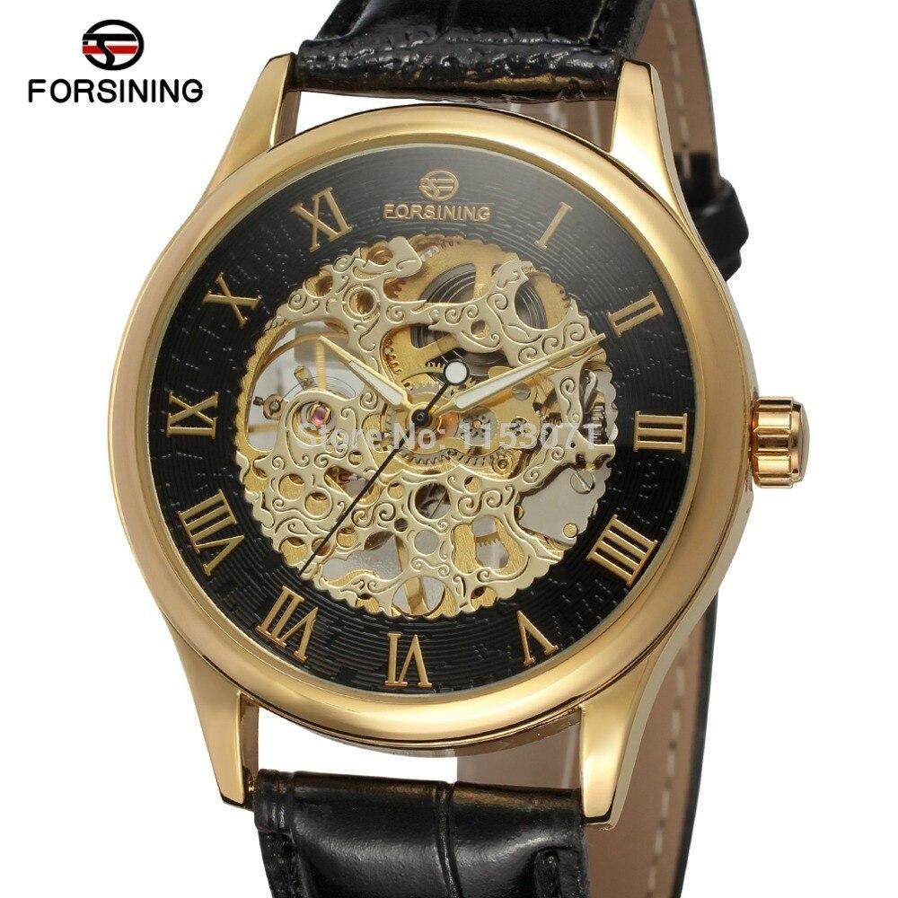 Mit Gold Farbe Römischen Zahlen Begeistert Neue Männer Uhr Fsg8094m3g2 Luxus Design Mit Gold Farbe Fall Schwarz Farbe Skeleton Geschenk Box