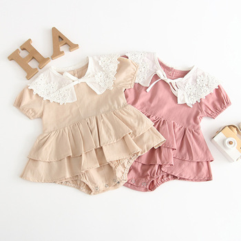 Newborn Girls Kids Floral Ruffles Pink Beige Color Romper Summer Holiday Party Lovely Child New Clothes Rompers