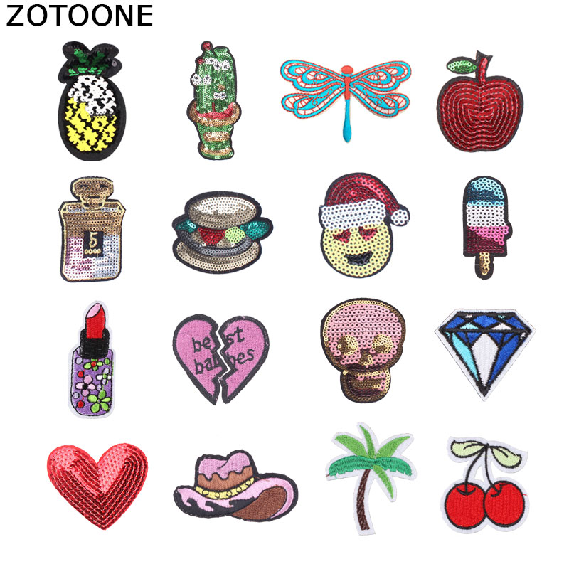 ZOTOONE Fruit Heart Sequin Patches Heat Transfers for Clothes Skull Embroidery Patch DIY Applique Clothes Sticker Appliques 3D E in Patches from Home Garden