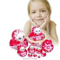 10pcs Christmas Gift Child's favorite Wooden Matryoshka Dolls Toy Braid Girl Traditional Russian Nesting Children's Toy 15cm