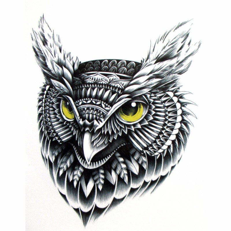 Flying Owltemporary tattoo, Hand painted realistic owl tattoo stickers, women and man waterproof tattoo stickers, arm 1
