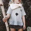 2016 nova verão crianças 100% algodão bonito meia manga Tops T meninas crianças T