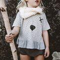 2016 nuevo verano camiseta de los niños 100% impresión linda de algodón medio mangas Tops Tee niñas niños bebés niños