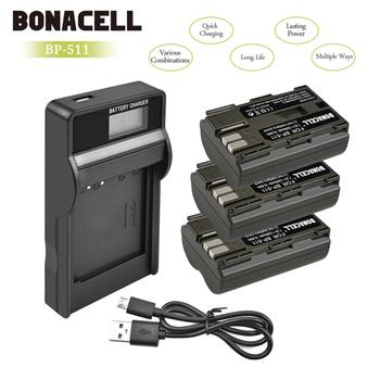 Bonacell 7.2V 2200mAh BP-511 BP-511A BP 511A סוללה + סוללה מטען עבור Canon EOS 40D 300D 5D 20D 30D 50D 10D G6 L10