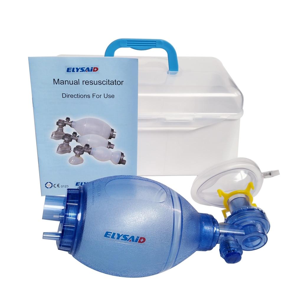 1pcs ELYSAID New Simple Self help Respirator PVC Manual Resuscitator Cardiopulmonary Resuscitation Airbags Emergency Equipment