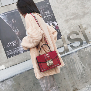 Image 3 - Small Handbags Fashion Shoulder Bags for Women 2020 Frosted PU Leather Hand Bags Rivet Chain Flap Ladies Crossbody Bag Red Brown