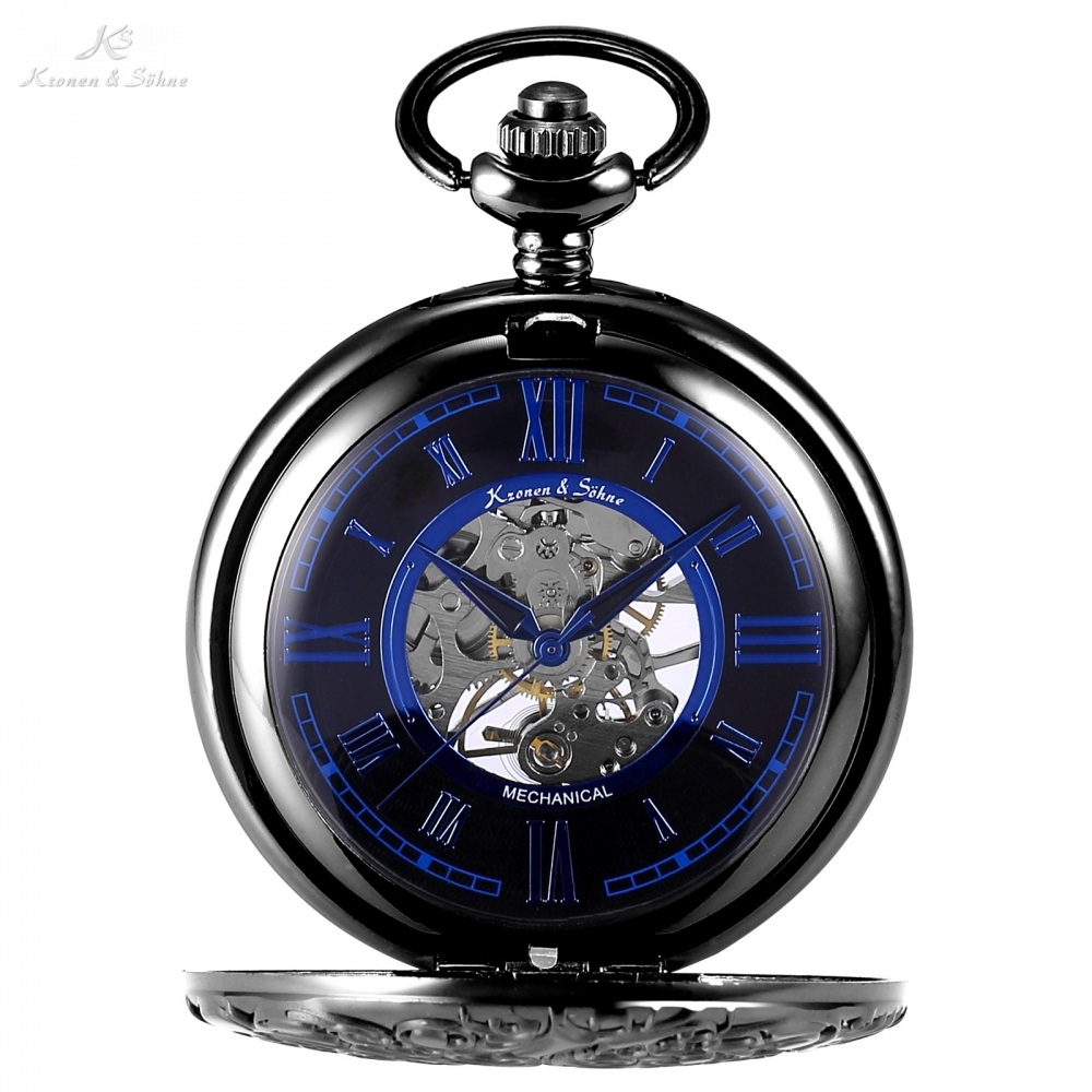 KS Skeleton Roman Mechanical Black Blue Pocket Watch Men Transparent Back Hand Winding Clock Fobs Key Chain Watches Gift /KSP072 shuhang rose cooper mechanical hand winding pocket watch octagon shape roman number skeleton clock pendant with chain best gift