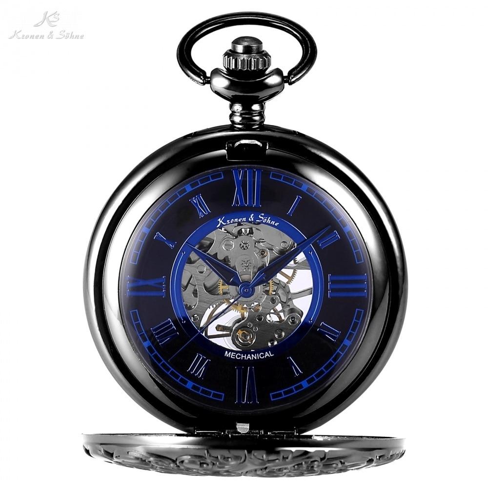 KS Skeleton Roman Mechanical Black Blue Pocket Watch Men Transparent Back Hand Winding Clock Fobs Key Chain Watches Gift /KSP072