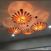 Юго Восточной Азии Ресторан светодиодный светильник подвесные лампы деревянный потолок деревянный lam отель бамбук цветок подвесные огни ZA