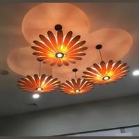 Southeast Asian restaurant LED lamp pendant lamps wood ceiling wooden lam Hotel bamboo flower Pendant Lights za zb32 ZAG503