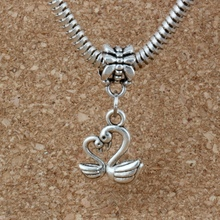 MIC .100pcs/lot Dangle Ancient silver Swan Charm Big Hole Beads Fit European Bracelet Jewelry 12.5x27mm A-222a