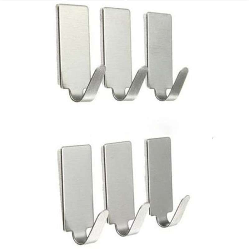 100% brand new and high quality 6PCS Self Adhesive Home Kitchen Wall Door Stainless Steel Holder Hook Hanger wholesale