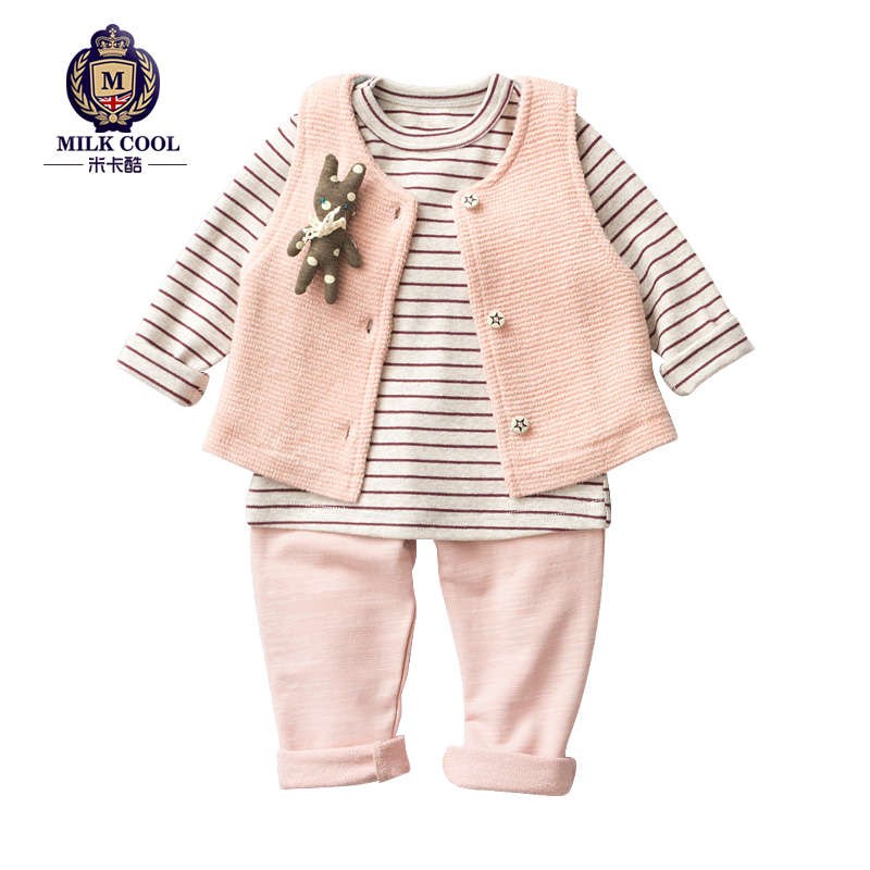 ФОТО lolita cute style late fall winter baby girl clothes pink striped baby clothes 3 pcs overcoat baby girls clothes with velvet
