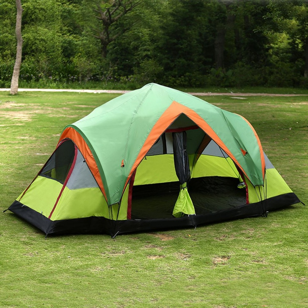 Outdoor Picnic Camping Tent with 2-Rooms Automatic Pop-up Quick Open Double-Layers Tent Suitable for 5~8 Persons Drop Shipping 2 persons camping tent double layer outdoor waterproof tent for beach garden backyard picnic