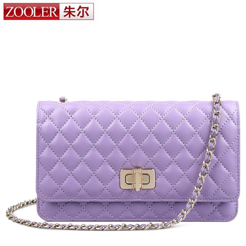 ФОТО ZOOLER genuine leather bag sheepskin women messenger bags luxury plaid woman bag chains (0-profit item) bolsa feminina #5311