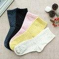 Mejor venta de señora vintage rosa de algodón sólidos calcetines chaussette masculina medias con pequeño punto de color brillante ocasional freshing color bla