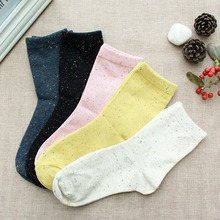 best selling lady vintage cotton pink sock solid male hosiery with small bright color dot casual chaussette  freshness color bla