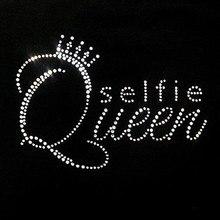 2pc/lot Crown Selfie Queen iron on Rhinestone transfer hotfix rhinestone crystal transfers design for dress shirt