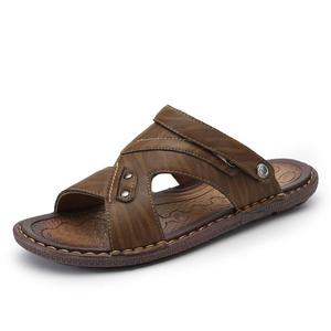 Image 2 - VASTWAVE Classics Summer Shoes Men Slippers Quality Split leather Sandals For Men Comfortable Flip Flops Men Beach Sandals