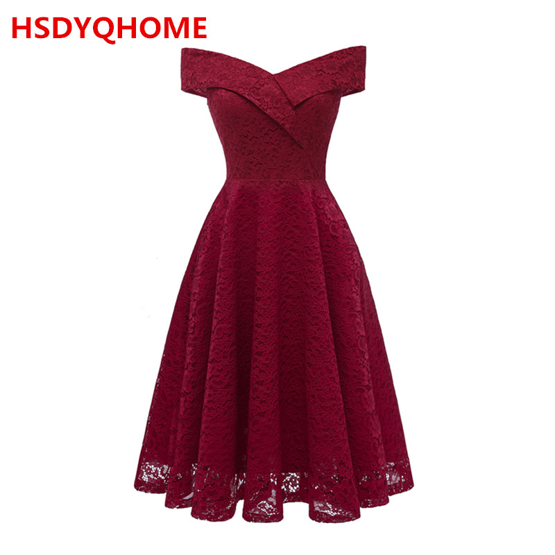In Stock Women's New Elegant Evening dresses short Lace A-line Sexy Prom party gown cheap dress