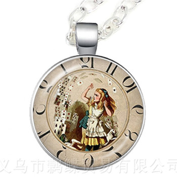 A Mad Tea Party Mad Hatter March Hare Fairy Tale Art Classic Pendant Necklace Alice In Wonderland Women Girl Sweater chain image