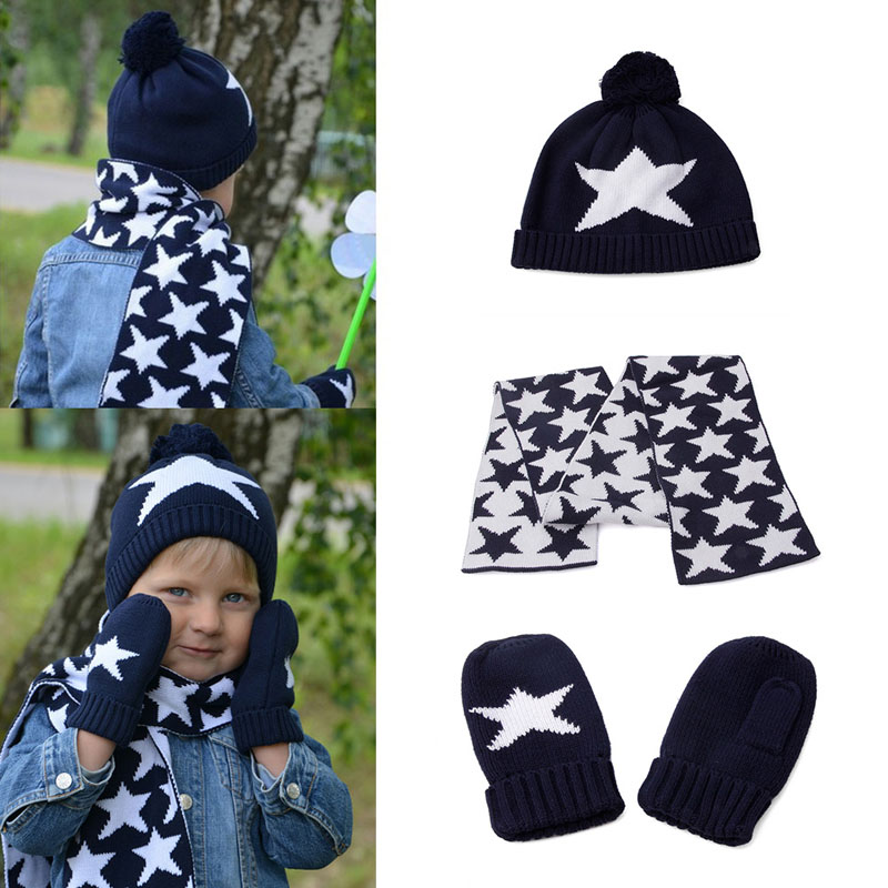 Winter three-piece Dark Blue Star Print Children Kids Boys knitted Hat Scarf Glove Set