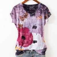 plus size 5XL! summer new fashion diamond printed t shirt women purple flower silk cotton short sleeved top tees