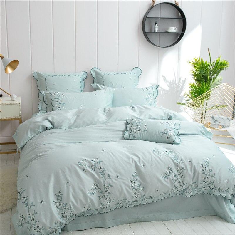Light green color bedding set 100% Egyptian cotton queen king size duvet quilt cover Embroidery bedsheet bedclothes linen