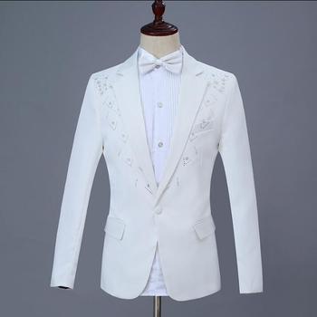 Sequin blazer men formal dress latest coat pant designs marriage suit men masculino trouser wedding suits for men's white singer