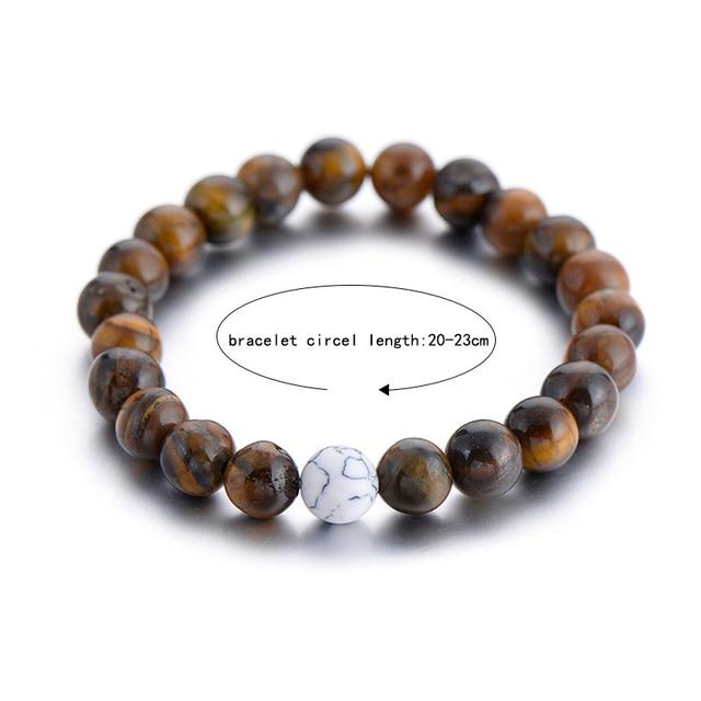 2Pcs/Set Natural Stone Fashion Distance Bracelets For Couple Tiger Eye Stone Yin Yang Buddha Strand Bracelet Men Women Jewelry 4