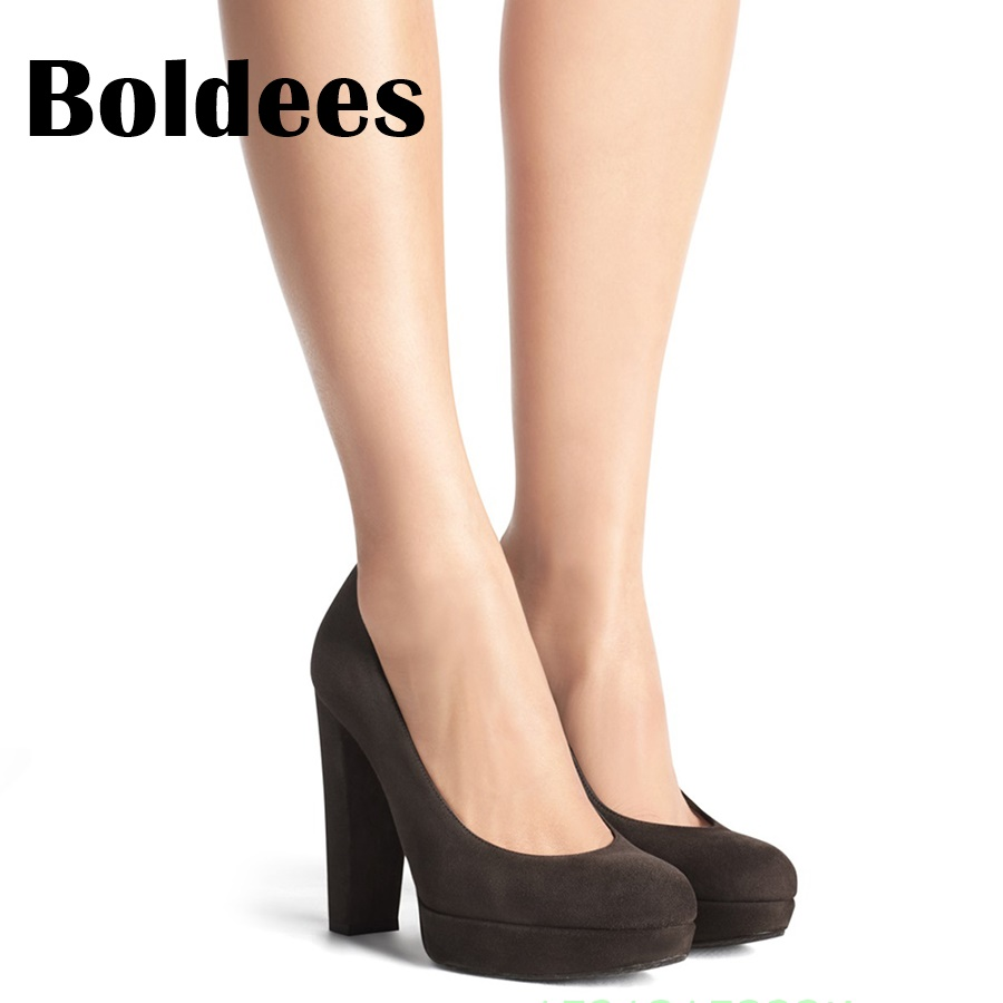 Boldee 2018 Platform Round Toe Block Heeled Women Dress Shoes Sexy High Heels Office Lady Suede Leather Comfortable Woman Pumps lady red shoes heels women pumps fashion suede high heels ladies wedding shoes platform round toe sexy footwear g752