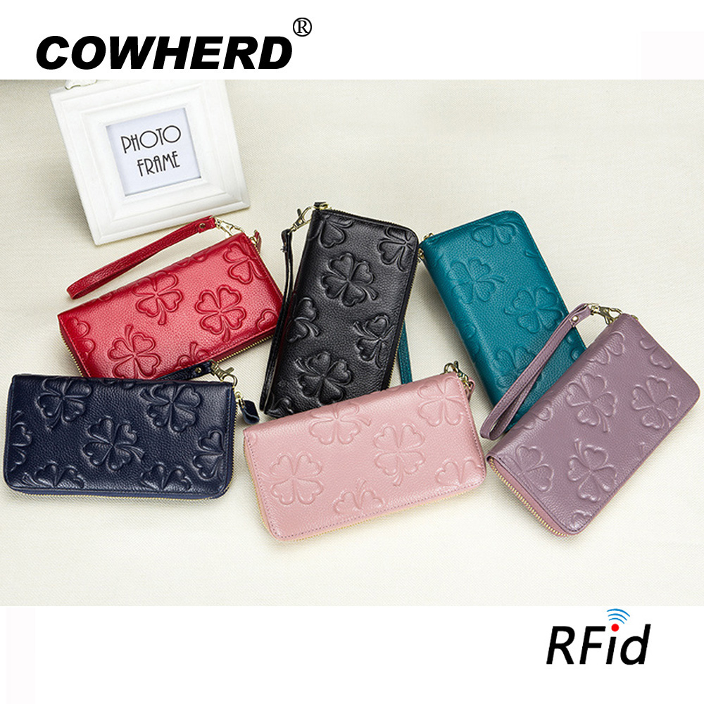 Women Wallets Head Layer Cow Leather Fashion Zipper Long Card Coin Purse anti RFID Money Pocket Wristlet Female Clutches Bag
