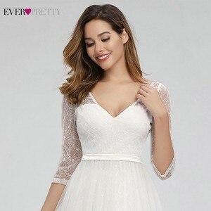 Image 5 - Ooit Mooie Elegante Kant Trouwjurken V hals A lijn Rits Sexy Witte Formele Bruid Jurken EP00806WH Vestidos De Novia 2020