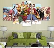 5 Panels Wall Art Anime One Piece Poster World Anime Art Wall Decor Paintings Canvas Unframed 1645