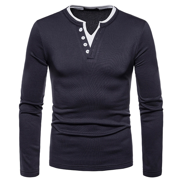 fc1b26523 T Shirt Men 2019 Spring New Style Double V Collar Fashion Mens Clothing  Solid Tshirt Casual