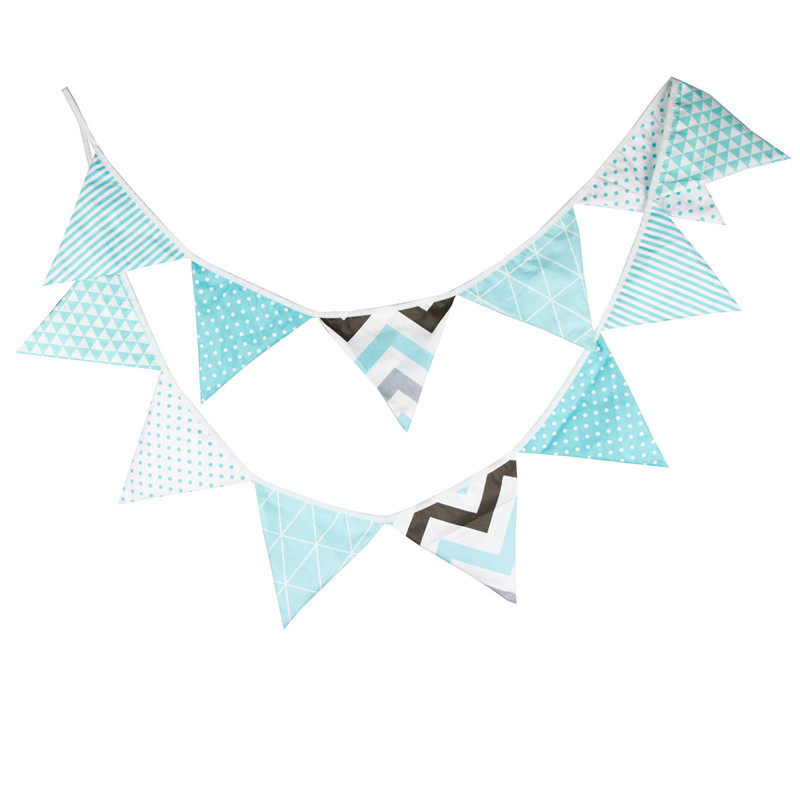 12 Flags 3.2m Elegant Blue Color Cotton Fabric Bunting Pennant Flag Banner Garland Birthday/Baby Show Party DIY Home Decoration
