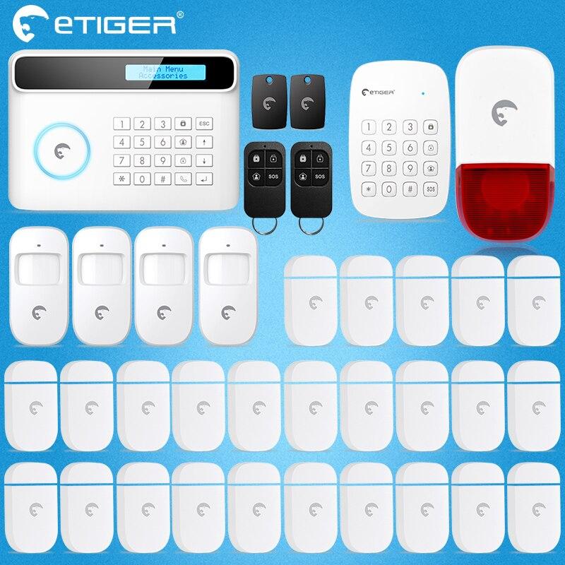 Etiger S4 2017 New Design PSTN GSM Autodial Home Security Alarm System+iOS App/ Android App Sensor  Alarm Security System Home