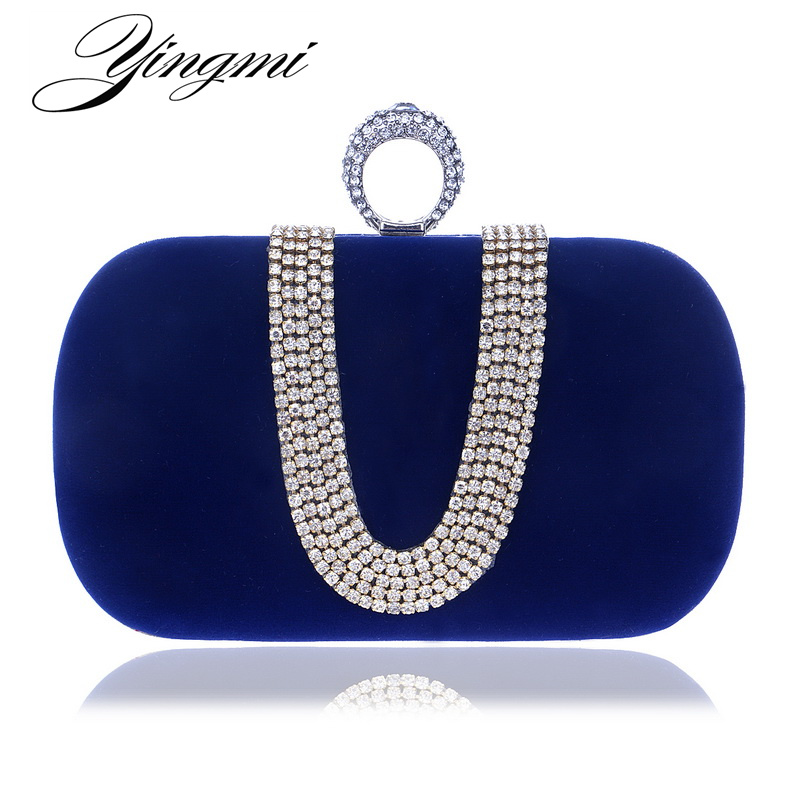 YINGMI Velet Rhinestones Evening Bag Wedding Purse Finger Ring Diamonds Chain Shoulder Handbags Crystal Evening Bag