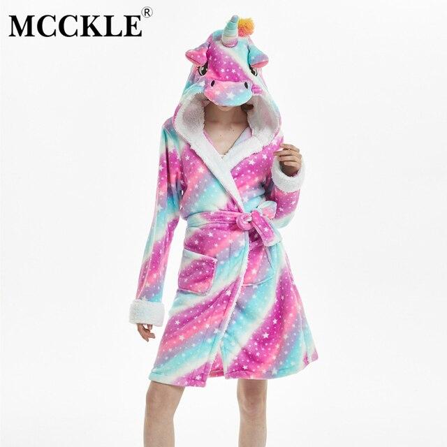 MCCKLE Winter Women Flannel Bath Robe Cartoon Unicorn Hooded Bathrobe Sleepwear Women Thick Warm Fleece Pajama Robe Dropshipping 1