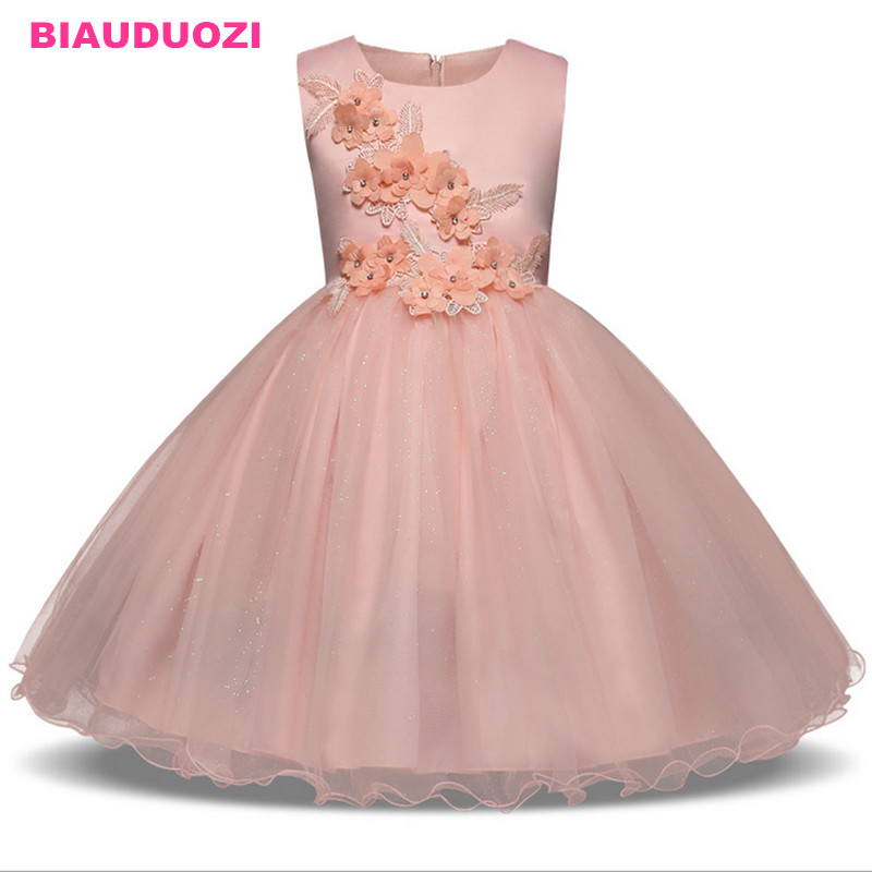Girls Dress Mesh Pearls Children Wedding Party Dresses Kids Evening Ball Gowns Formal Baby Frocks Clothes for Girl