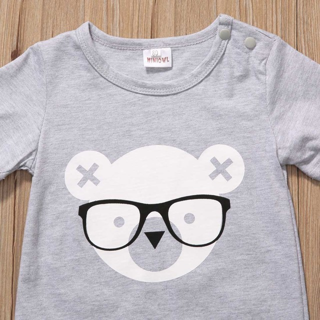 2017 Newborn Infant Baby Boy Girl Kids Bear Romper Jumpsuit Cotton O-neck Gray Bear Clothes Outfits Size 0-2Y 1