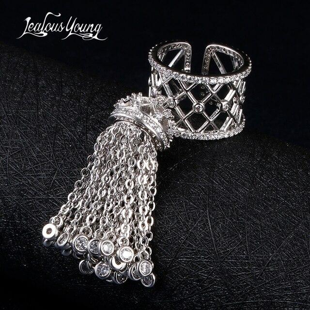 Женское кольцо с короной и кисточками, роскошное Королевское регулируемое кольцо с фианитом высшего качества, AR014