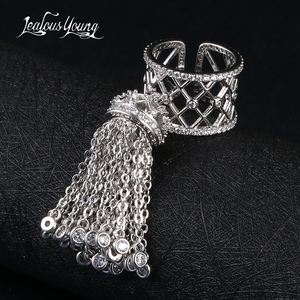 Image 1 - Luxury Royal Tassel Crown Rings For Women With Top Quality Cubic Zircon Adjustable Tassel Ring bague femme AR014